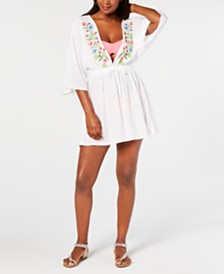 Miken Juniors' Embroidered Kimono Cover-Up