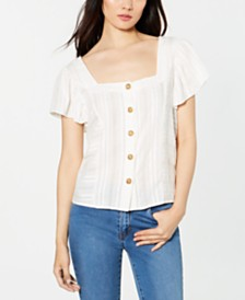 Vince Camuto Cotton Textured Flutter-Sleeve Blouse