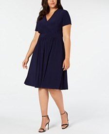 Anne Klein Plus Size Surplice-Neck Shift Dress