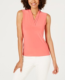 Anne Klein Sleeveless Pleated V-Neck Top