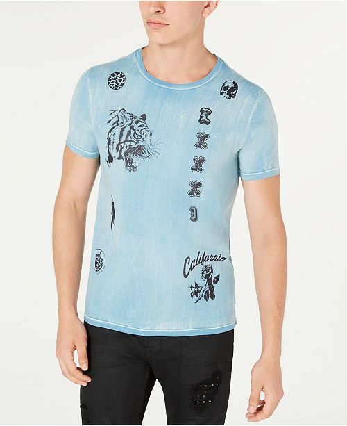 GUESS Men's Stamped Streaked T-Shirt