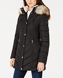 Cinched Faux-Fur Trim Hooded Puffer Coat