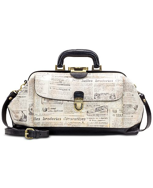 Patricia Nash Dottore Newspaper Print Satchel