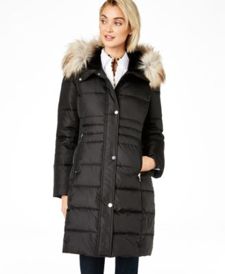 Box Quilt Faux-Fur Hooded Puffer Coat, Created for Macy's