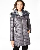 da5c6839a74f3e Marc New York Velvet-Trim Faux-Fur Hooded Puffer Coat