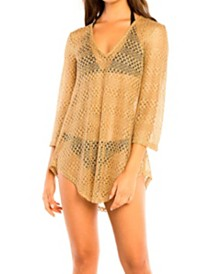 Jordan Taylor Metallic Bell Sleeve Tunic Cover up