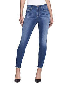 High-Rise Raw-Hem Skinny Jeans
