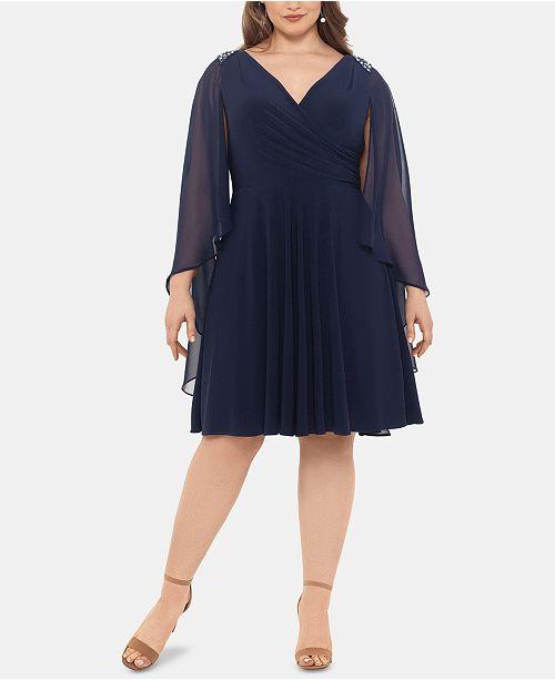 XSCAPE Plus Size A-Line Cape Dress