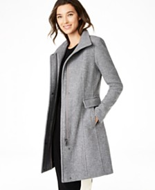 Calvin Klein Petite Stand Collar Walker Coat, Created for Macy's