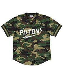 Men's Detroit Pistons Camo Mesh V-Neck Jersey Top