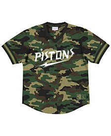 Mitchell & Ness Men's Detroit Pistons Camo Mesh V-Neck Jersey Top