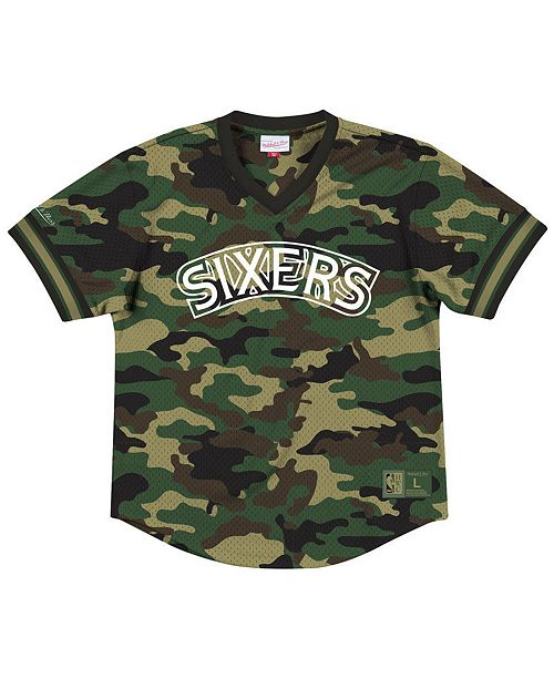 new concept 51043 5508a Men's Philadelphia 76ers Camo Mesh V-Neck Jersey Top