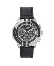 Versus Men's Black Leather Strap Watch 22mm