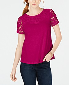 Petite Cotton Embroidered T-Shirt, Created for Macy's