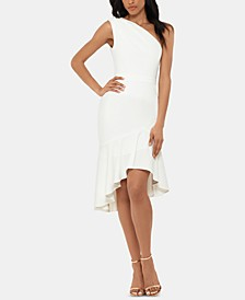 Petite One-Shoulder Flounce Dress