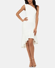 XSCAPE Petite One-Shoulder Flounce Dress