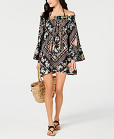 Nanette Lepore Diamond Vines Off-The-Shoulder Tunic Cover-Up