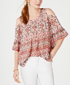 Style & Co Petite Printed Cold-Shoulder Top, Created for Macy's