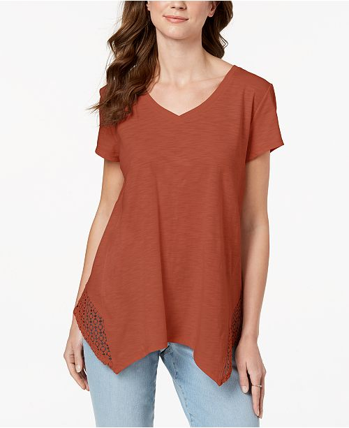 Style & Co Crochet Handkerchief-Hem T-Shirt, Created for Macy's