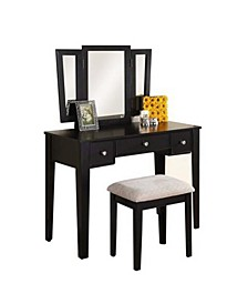 Commodious Vanity Set Featuring Stool And Mirror