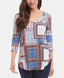 3/4-Sleeve Shirttail Top