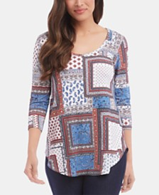 Karen Kane 3/4-Sleeve Shirttail Top