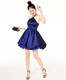 Sequin Hearts Juniors' Double-Layer Fit & Flare Dress