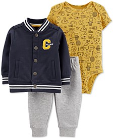 Baby Boys 3-Pc. Jacket, Bodysuit & Jogger Pants Cotton Set