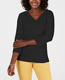 Petite Eyelet V-Neck Cotton Top, Created for Macy's