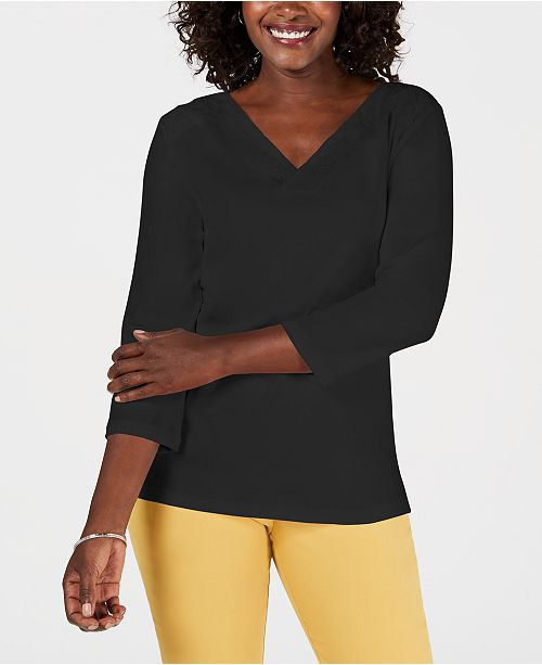 Karen Scott Petite Eyelet V-Neck Cotton Top, Created for Macy's
