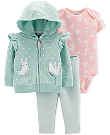 Baby Girls 3-Pc. Bunny Hoodie, Bodysuit & Leggings Cotton Set
