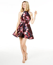 Sequin Hearts Juniors' Lace-Back Double-Ruffle Dress