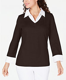 Karen Scott Petite Layered-Look Cotton Top, Created for Macy's