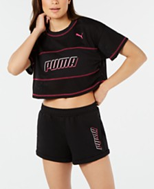 Puma Modern Sports Cotton Mesh Colorblocked Cropped T-Shirt