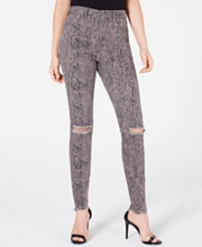 Rewash Juniors' Stevie Ripped Printed Skinny Jeans