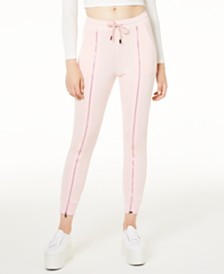 Waisted Zipper-Trim Jogger Pants