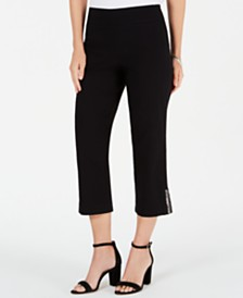 JM Collection Embellished-Hem Capri Pants, Created for Macy's