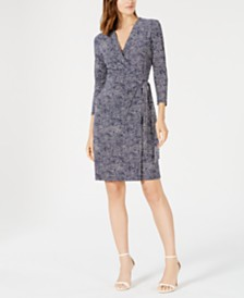 Anne Klein Printed Faux-Wrap A-Line Dress