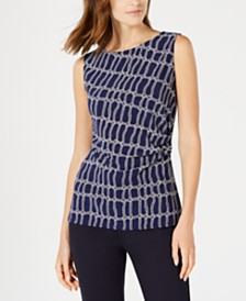 Anne Klein Sleeveless Ruched Rope-Print Top
