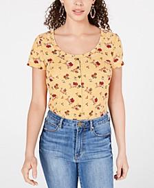 Juniors' Button-Front Waffle T-Shirt