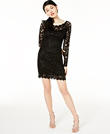 Juniors' Embellished Lace Bodycon Dress