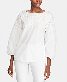 Petite Embroidered Puff-Sleeve Cotton Top