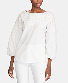 Lauren Ralph Lauren Petite Embroidered Puff-Sleeve Cotton Top