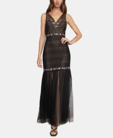 BCBGMAXAZRIA Lace & Tulle Mermaid Dress