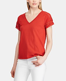 Lauren Ralph Lauren Petite Lace-Trim Top