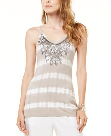 I.N.C. Petite Sequined Tie-Dyed Tank Top, Created for Macy's