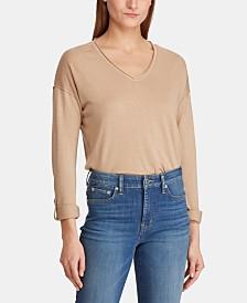 Lauren Ralph Lauren Roll-Sleeve V-Neck Sweater