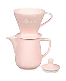 Melitta 64124 Porcelain Pour-Over Carafe Set with Cone Brewer and Carafe, Pastel Pink
