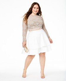 City Studios Trendy Plus Size 2-Pc. Lace Fit & Flare Dress