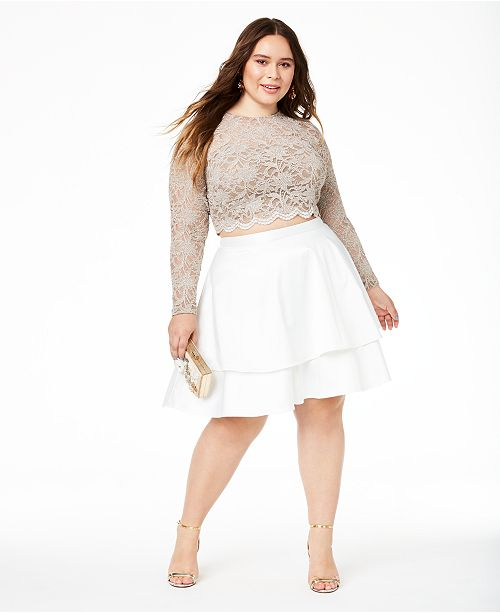 Trendy Plus Size 2-Pc. Lace Fit & Flare Dress